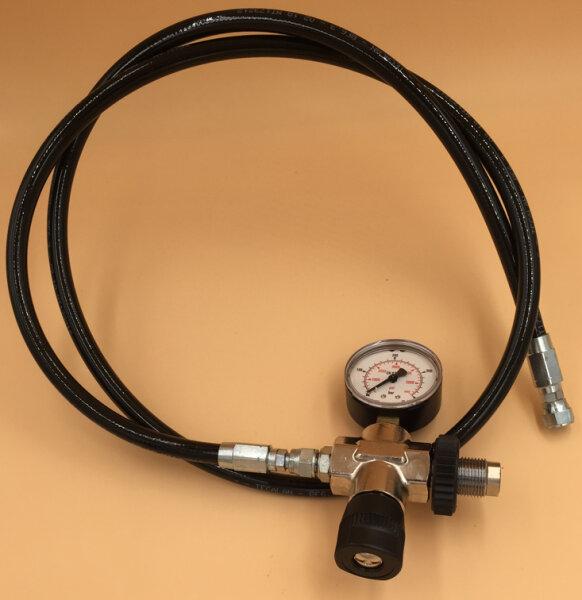 Füllschlauch für Druckluft bis 315bar, mit Manometer und Entlüft