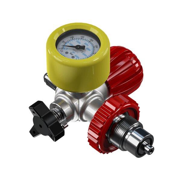Füllanschluss für Kompressorfüllschlauch mit Entlüftung und Manometer 300bar