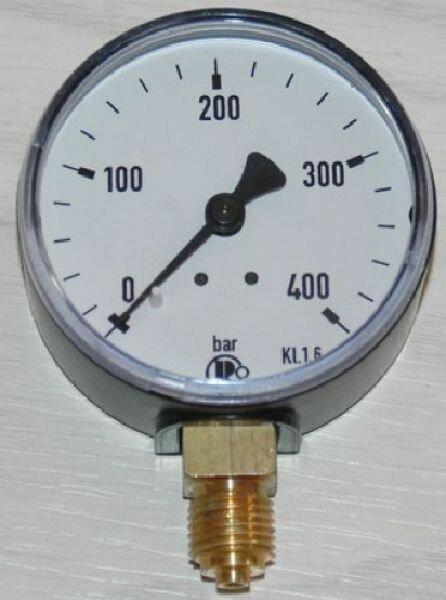 Manometer für Druckluft Kl.1.6, 63mm Stahlgehäuse, bis 400 bar