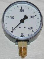 Manometer für Druckluft Kl. 2.5, 63mm Durchmesser, Anzeige  0...400 bar