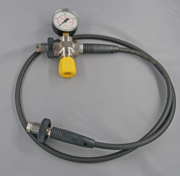 Überströmschlauch  für Druckluft bis 400bar, mit Manometer und Entlüftung